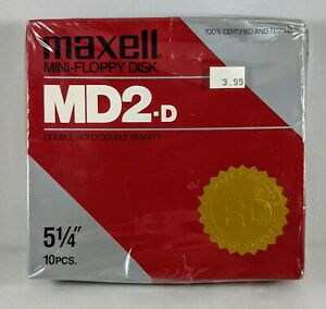 """Maxell MD2D Mini-Floppy Disks 5 1/4"""" Double Sided  10 pieces New Sealed Vintage"""