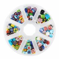 1Box Handmade Millefiori Glass Beads Mixed Shapes Mixed Color Loose Spacer Beads