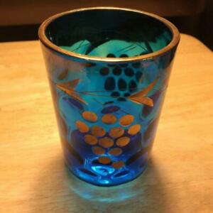 """Vintage Blue Bubbles and Grapes 4"""" Tumbler with Gold Trim"""