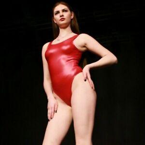 Women's Rubber Latex Bodysuit Leotard Oil Shiny Stretch Bikini Swimwear Sexy