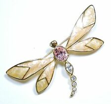 Vintage K.J.L. for AVON Rhinestone and Enamel Dragonfly Brooch Pin JN16986