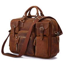 J.M.D Mens Crazy Horse Leather Messenger Shoulder Travel Bag Satchel Briefcase