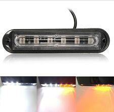 6 LED Strobe Light Waterproof 18 Flash Modes Flash Warning Light Bar White+Amber