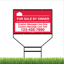 For Sale By Owner Yard Sign with Steel Black Wishbone Frame - 18 x 30in (Red)