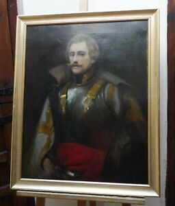 LARGE OIL PORTRAIT OF AN OFFICER IN ARMOUR SIGNED 1903  FREE SHIPPING ENGLAND