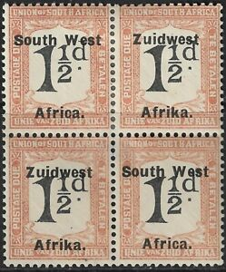 South West Africa 1924 Postage Due 1½d 'Misplace Overprint' Block of 4 MH
