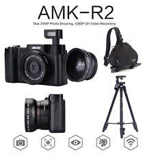 "AMKOV 24MP 1080P Digital Cameras 3""Rotatable DSLR Cameras+Lens+ Tripod+Bagpack"