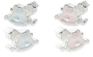 Silver Plated Blue / Pink My First Tooth & Curl Rocking Horses Keep Sake Boxes