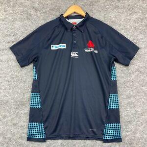 Canterbury Waratahs Mens Polo Shirt Size L Large Blue Short Sleeve 10.07