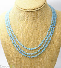 """GENUINE TOP NATURAL 3 ROWS 4MM FACETED BLUE AQUAMARINE ROUND BEADS NECKLACE 18"""""""