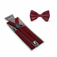 Burgundy Suspenders and Bow Tie Matching Set Wedding Prom Maroon Wine Red