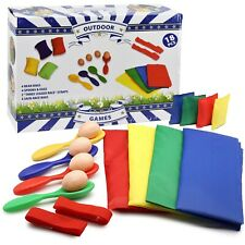4 in 1 Sports Day Set - Sack Race, 3 Legged Race, Egg and Spoon Race, Bean Bags
