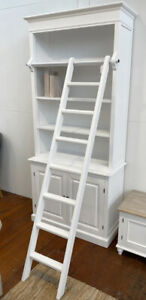 Ex-Display Bookcase Library Provincial White Display Unit Storage Hamptons 220cm