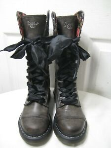 DR MARTENS Triumph 1914 Gray Leather 12 Eye Moto Rolldown Boots Shoes Size 36/ 5