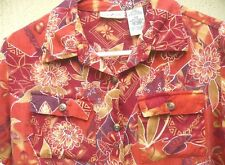 Vtg 90S S M White Stag Orange Red Floral Button Down Pockets Shirt Blouse Women