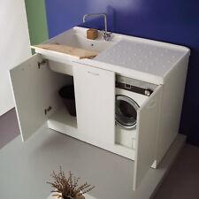 Mobile lavanderia bianco in legno Coprilavatrice 123 x 60 per lavatrice a destra