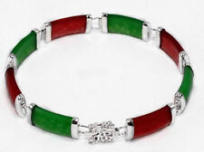 Natural Red Ruby & Green Emerald 18K gold on Bracelet 7.5""
