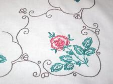 For The Love Of Roses & Red Crochet! Vtg German Lrg Spring Tablecloth + Doily