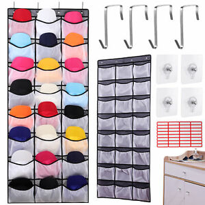 24 Large Pockets Hat Rack for Baseball Caps Wall Storage