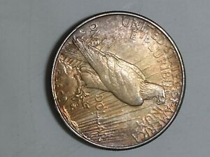 Uncirculated Toned 1925 S Peace Dollar Silver from the end of a roll
