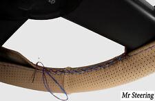 Color Beige De Cuero Perforado cubierta del volante de Mercedes Viano Azul Cielo Stitch