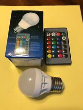 LED Light bulb. Remote controlled, multi color. Have some fun!