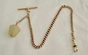 ANTIQUE 9ct GOLD POCKET WATCH ALBERT CHAIN WITH A STONE FOB, NOT SCRAP