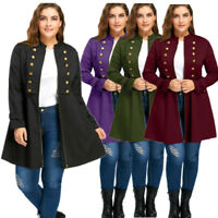 Retro Victorian Womens Double Breasted Steampunk Gothic Long Trench Coat Jacket