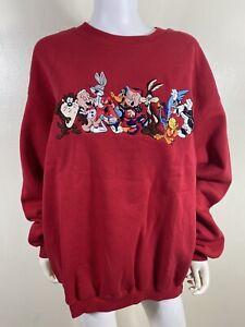 NEW Men's Vintage 1995 Warner Bros Red Embroidered  Looney Tunes Sweatshirt