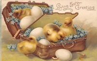 Clapsaddle Easter~Chicks Eggs & Blue Forget-me-Nots in Flip Suitcase~Emboss~1908