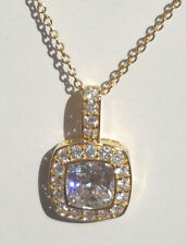 Gold Overlay Sterling Silver Zirconia Pendant Necklace