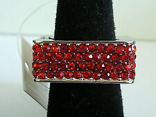 NEW Fashion red CRYSTAL Square COCKTAIL stretch RING hammered silver plate
