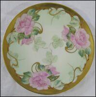 Antique Haviland France 1894-1931 Gold Trim Large Pink Roses Cabinet Plate 9 3/4