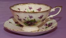 Royal Standard Wide Mouth English Bone China Purple Violets Teacup & Saucer Duo