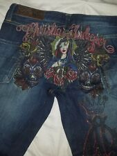 NWT $205 Christian Audigier Stretch Dark Bootcut Mary Madonna Painted Jeans 28