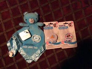 new baby boy blanky bear and binky ties,