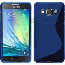 Coque en Silicone Samsung Galaxy A3 (A300) - S-Style bleu + films de protection