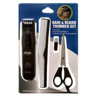 4pc Hair & Beard Trimmer Scissors Comb Brush Men & Women Set Facial Hair Salon