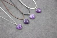 Purple AMETHYST Glass Crystal Love Heart Pendant with necklace(PD-S20)