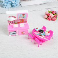 Dolls kitchen furniture for doll table chair dinnerware cabinet kids  G< LFIT