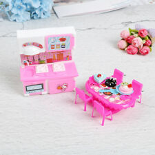 Dolls kitchen furniture for  doll table chair dinnerware cabinet kid toyZP
