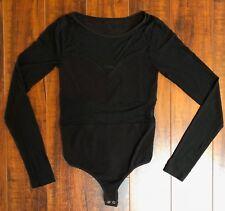 VTG 90s bebe sz P/P P/S Petite Black Sexy Sheer See Through Bodysuit Unitard