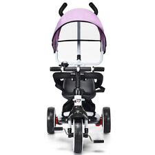 Honeyjoy 4-In-1 Tricycle Baby Stroller Learn to Ride Bike Detachable Canopy Pink