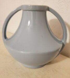 Vintage Coors Pottery Art Deco Gloss Blue Double Handled Vase Golden Colorado