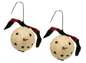 Christmas Ornaments Small Snowman Heads Set of 2 Primitive Decor 3 x 1.5 inches