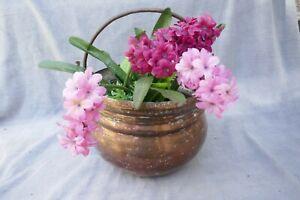 Antique French Large Copper Planter Pot Patio Flower Trough Tub Old Cooking Pot
