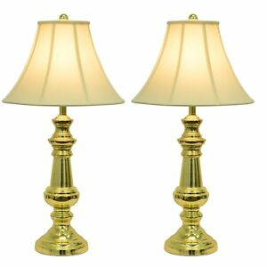 Table Lamp Shade Set Bedroom Light Polished Brass Base Touch Control Lamp Decor