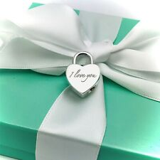 Tiffany & Co Sterling Silver I LOVE YOU Notes Heart Padlock Charm Pendant