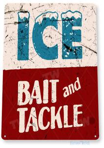 Ice Bait Tackle Fish Fishing Marina Store Rustic Tin Sign  B439