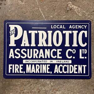 Patriotic Insurance Vintage Tin Sign Vintage Advertising Collector NOS